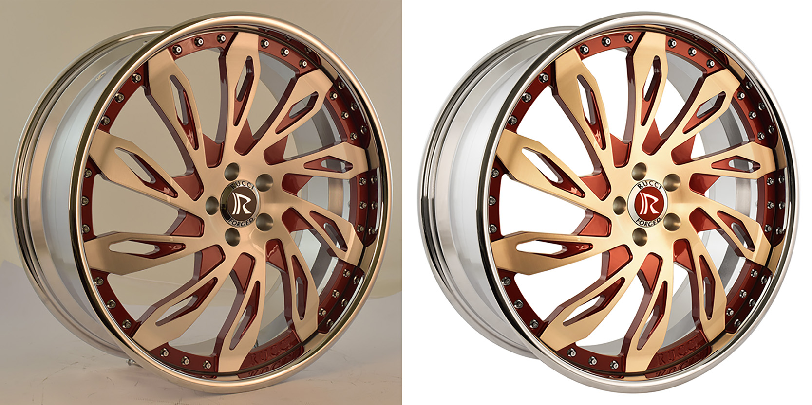 Product photo of a Rucci Forged Wheel - before and after