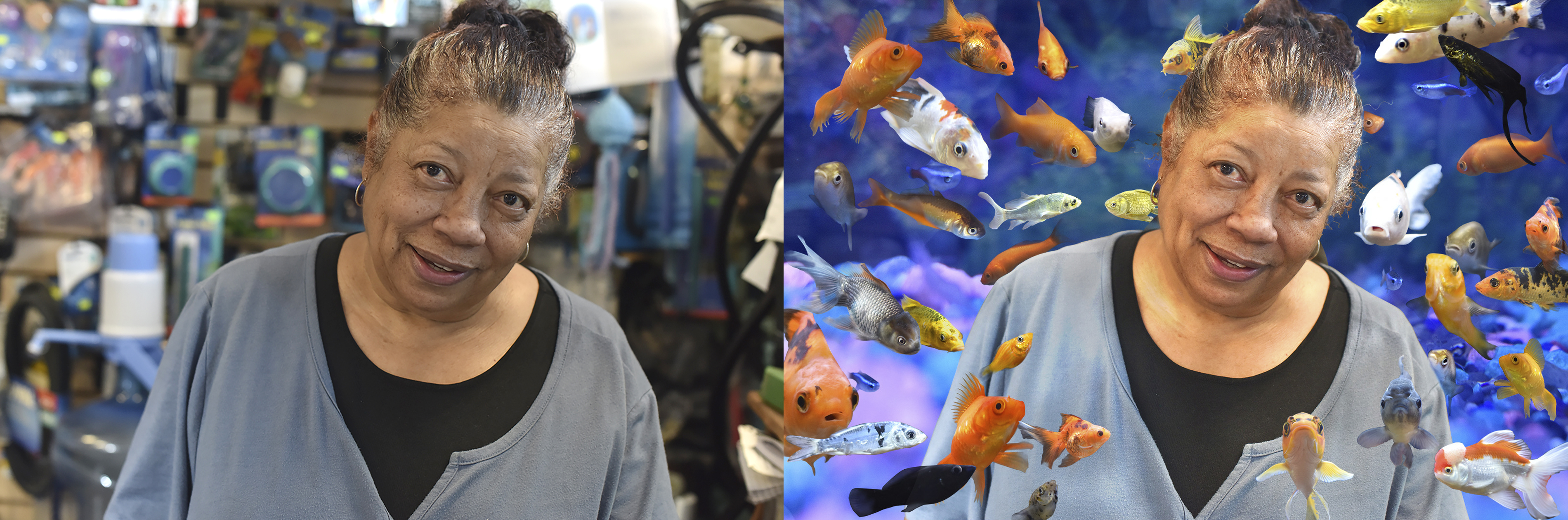 Photo manipulation of Marla Yasutake with fish