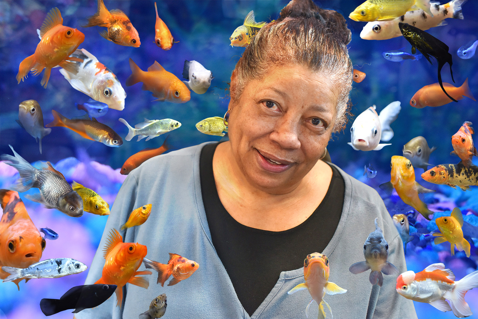 Photo Portrait of Marla Yasutake with fish